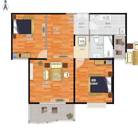 滨江名人苑2室1厅1卫1厨105.00㎡户型图