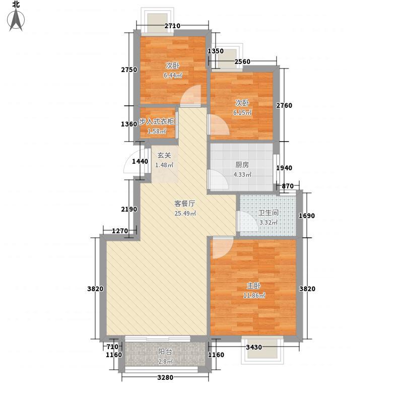 维科水岸枫情3室1厅1卫1厨88.00㎡户型图
