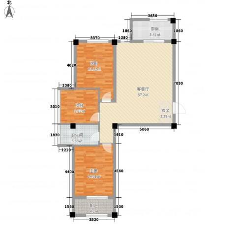 百盛朗庭3室1厅1卫1厨115.00㎡户型图