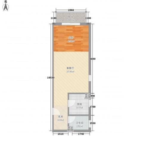金燕学院府1厅1卫1厨52.00㎡户型图