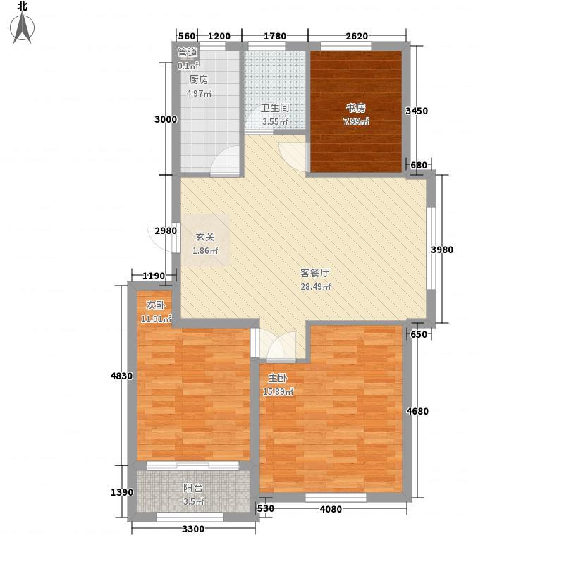 优胜美地3室1厅1卫1厨112.00㎡户型图