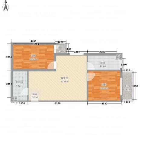 金燕学院府2室1厅1卫1厨82.00㎡户型图