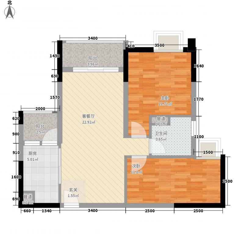 时代港2室1厅1卫1厨83.00㎡户型图
