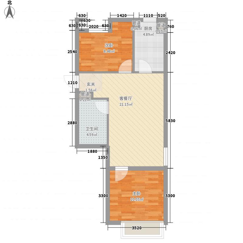 颐和星海2室1厅1卫1厨49.62㎡户型图