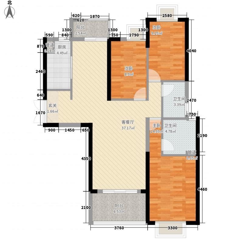 联泰・万泰城3室1厅2卫1厨131.00㎡户型图