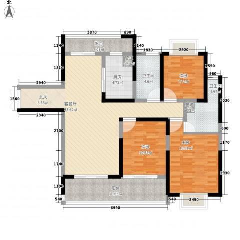 黄山湖公馆3室1厅2卫1厨140.00㎡户型图