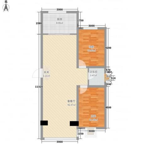 东区国际2室1厅1卫1厨108.00㎡户型图