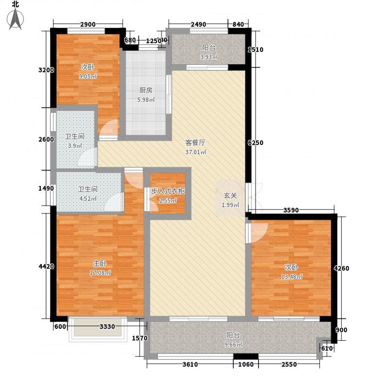 保利拉菲公馆朗菲园3室1厅2卫1厨157.00㎡户型图
