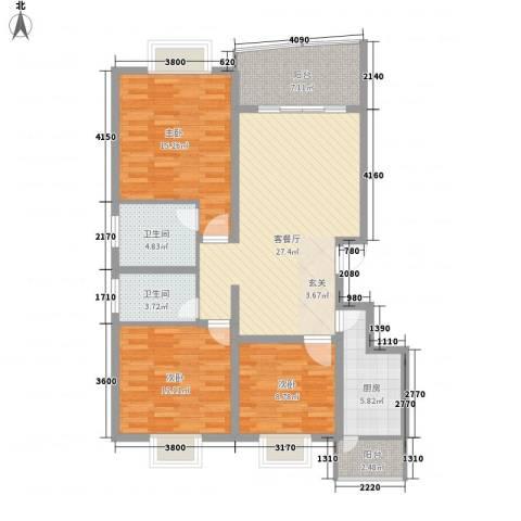 十里江南3室1厅2卫1厨105.00㎡户型图