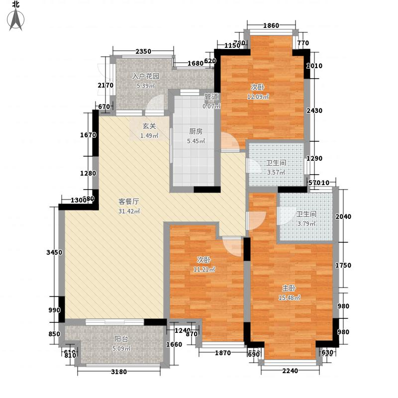 万豪西花苑3室1厅2卫1厨134.00㎡户型图