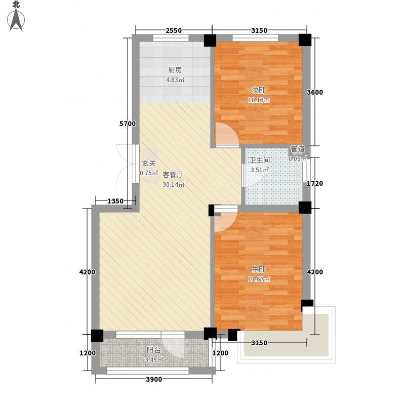 亿诚御景湾78.80㎡B1#楼E户型2室2厅1卫1厨