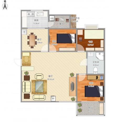 龙泉花园3室2厅1卫1厨109.00㎡户型图