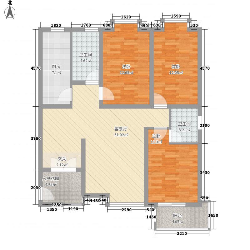 世纪鑫城12.68㎡1#C户型3室2厅2卫1厨