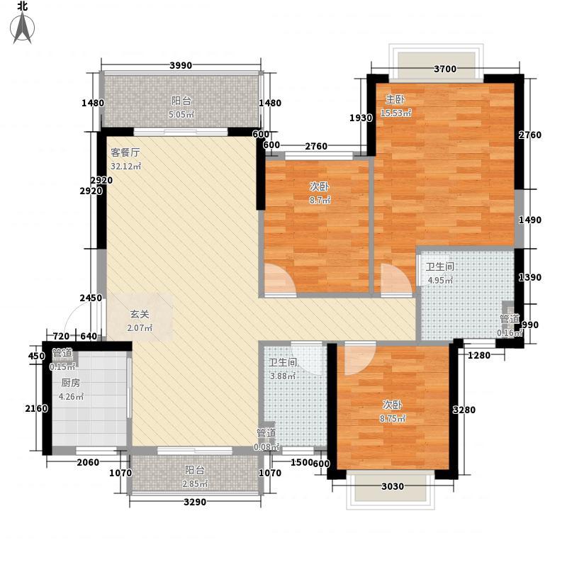 鼎丰・凤凰湾3室1厅2卫1厨86.48㎡户型图