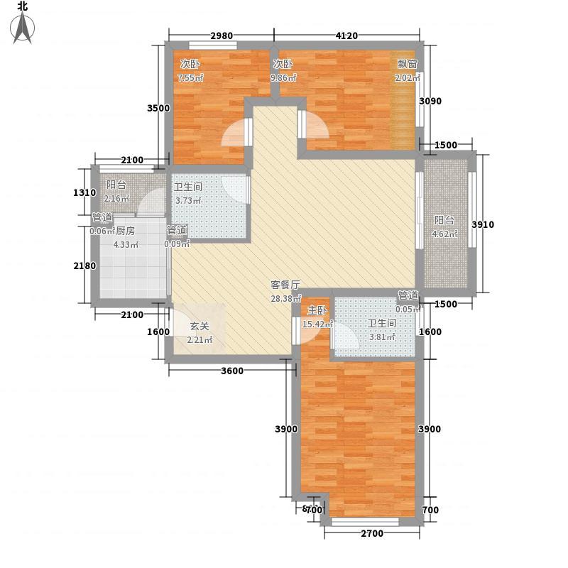 绿宸万华城3室1厅2卫1厨80.06㎡户型图