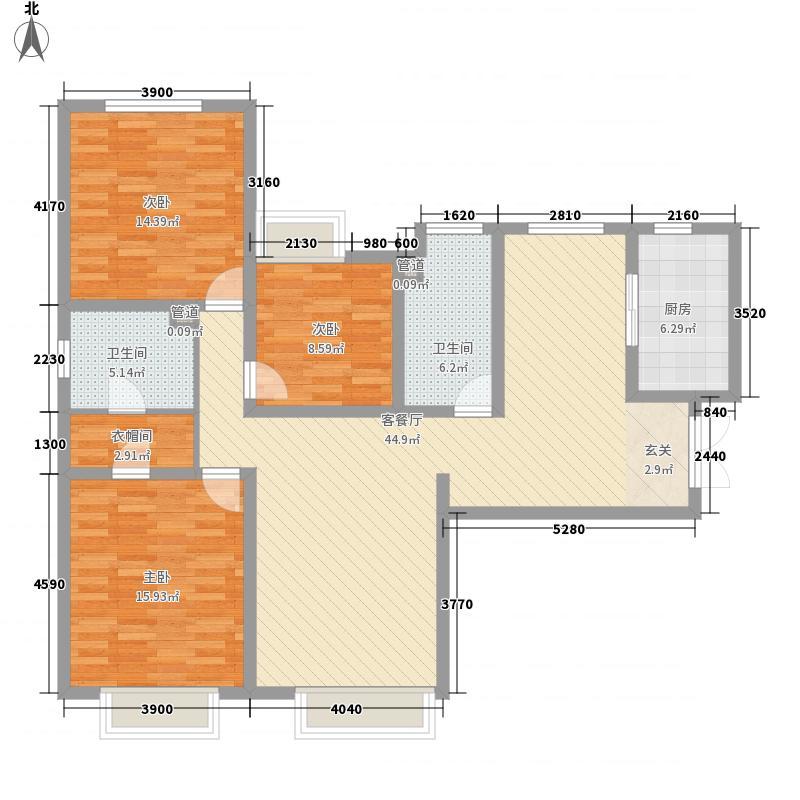 颐和星海3室1厅2卫1厨104.53㎡户型图