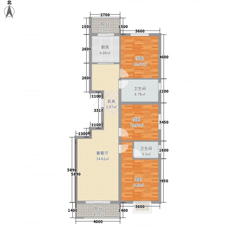 逸景中央美墅116.00㎡C户型3室2厅1卫1厨