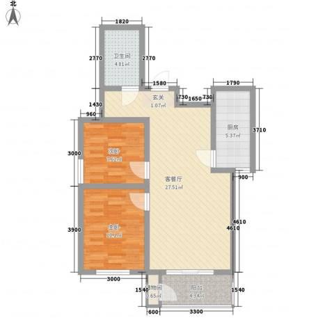 凤凰合鸣苑项目2室1厅1卫1厨88.00㎡户型图