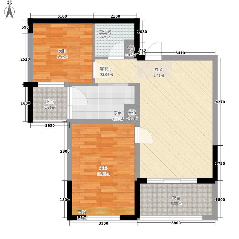 布鲁明顿广场78.16㎡3栋2单元G户型2室2厅1卫1厨