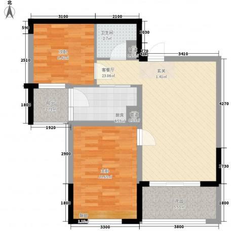 布鲁明顿广场2室1厅1卫1厨78.00㎡户型图