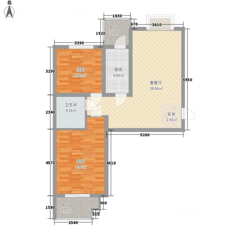 滨河绿洲98.00㎡滨河绿洲户型图户型(一)2室2厅1卫1厨户型2室2厅1卫1厨
