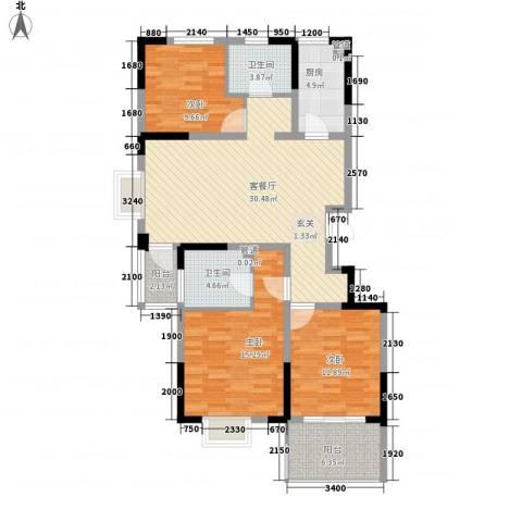 苹果园・幸福城3室1厅2卫1厨128.00㎡户型图