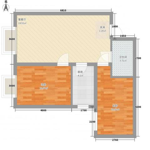 长缨新座2室1厅1卫1厨73.00㎡户型图
