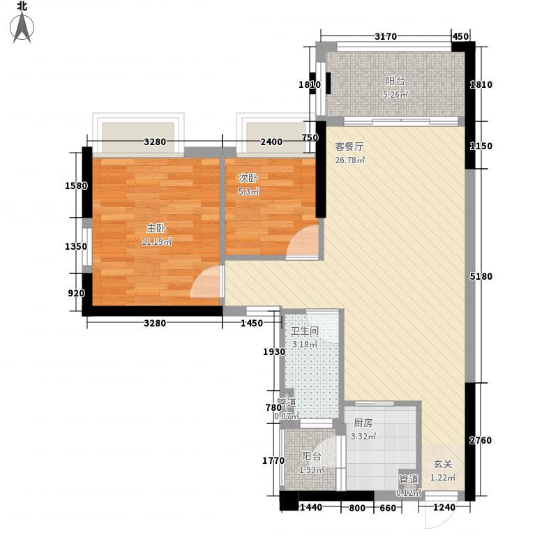 旭日・翠澜园2室1厅1卫1厨82.00㎡户型图