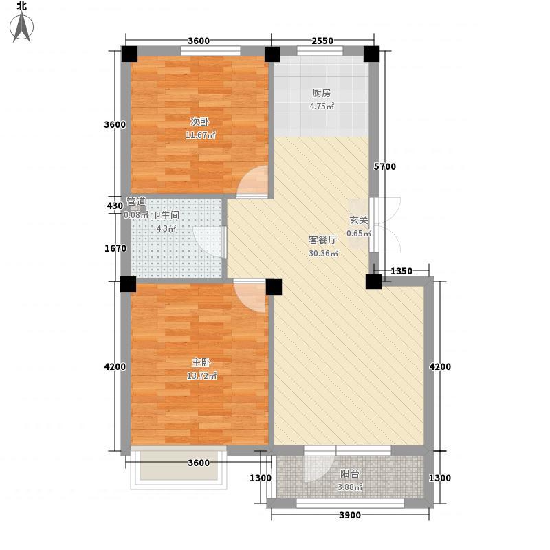 亿诚御景湾2室1厅1卫0厨82.00㎡户型图