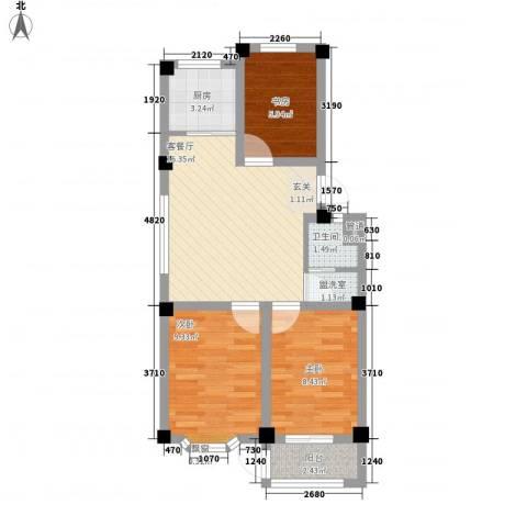西涝台御鑫园3室1厅1卫1厨72.00㎡户型图
