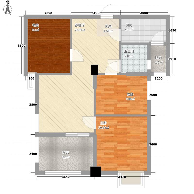 纽宾凯汉city国际社区3室1厅1卫1厨66.30㎡户型图