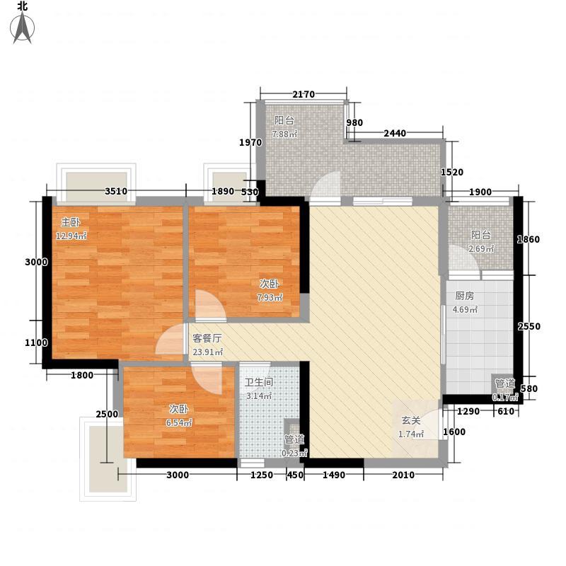 时代港3室1厅1卫1厨70.14㎡户型图