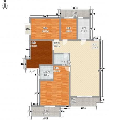 滨河绿洲4室1厅2卫1厨192.00㎡户型图