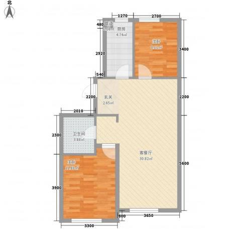 万晟幸福里2室1厅1卫1厨83.00㎡户型图