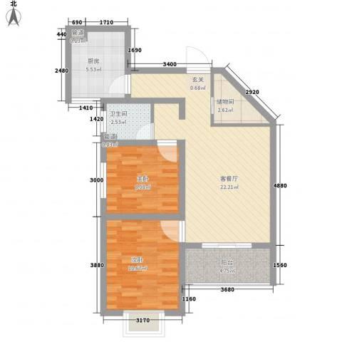 美丽的院子2室1厅1卫1厨90.00㎡户型图