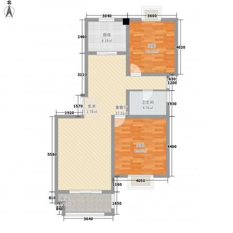 久和国际新城2室1厅1卫1厨81.91㎡户型图