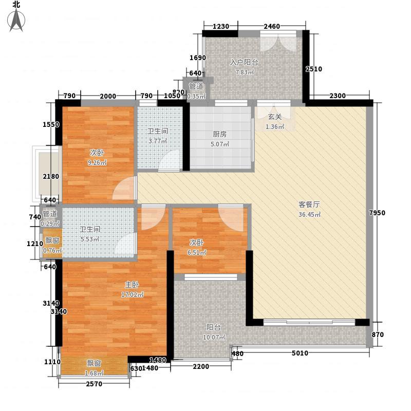 颐澳湾110.00㎡颐澳湾户型图3座03单位3室2厅2卫1厨户型3室2厅2卫1厨