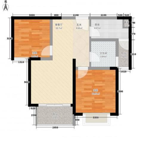 景隆现代城2室1厅1卫1厨77.00㎡户型图