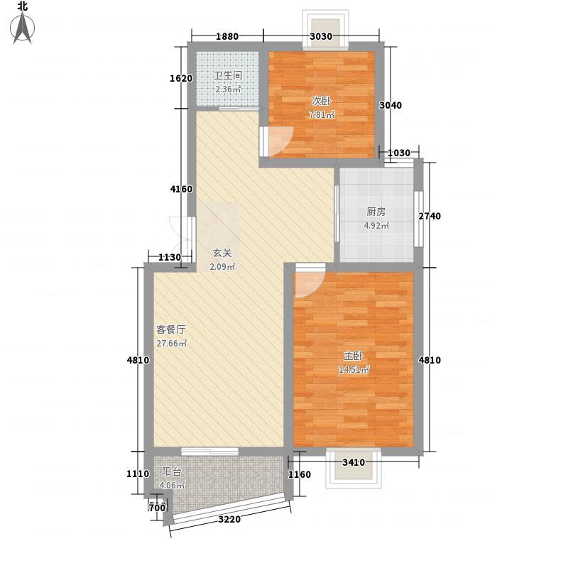 新华阳光花园88.23㎡D户型2室2厅1卫1厨