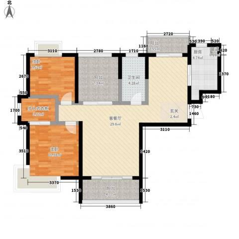 景隆现代城2室1厅1卫1厨110.00㎡户型图