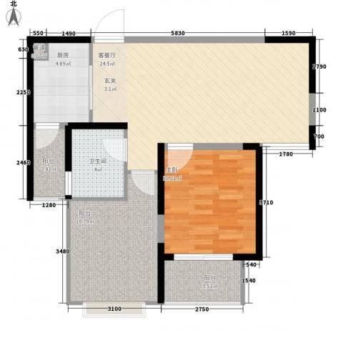景隆现代城1室1厅1卫1厨71.00㎡户型图