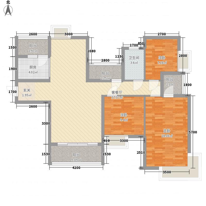 宝辉幸福城13.00㎡1#2#3#B2户型3室2厅2卫1厨