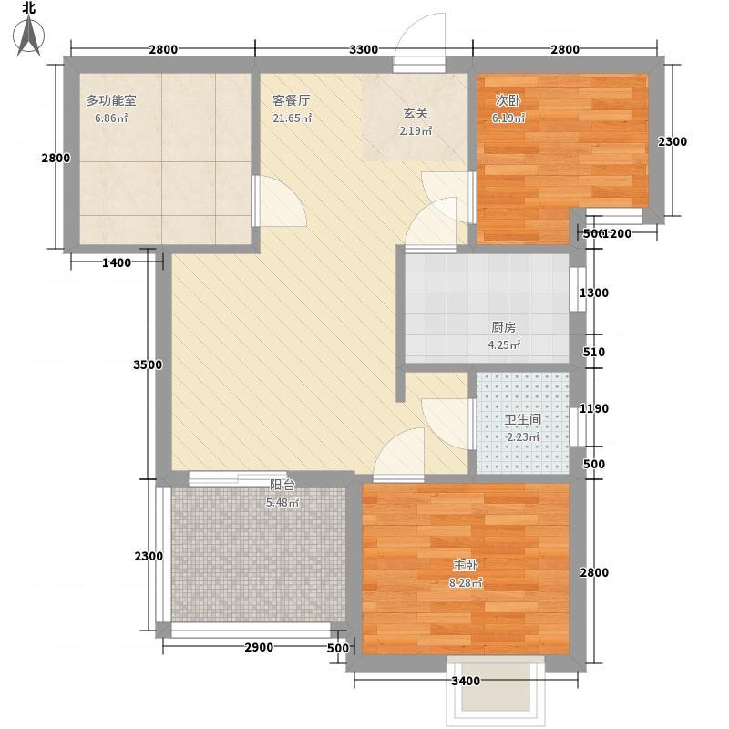 纽宾凯汉city国际社区2室1厅1卫1厨54.95㎡户型图