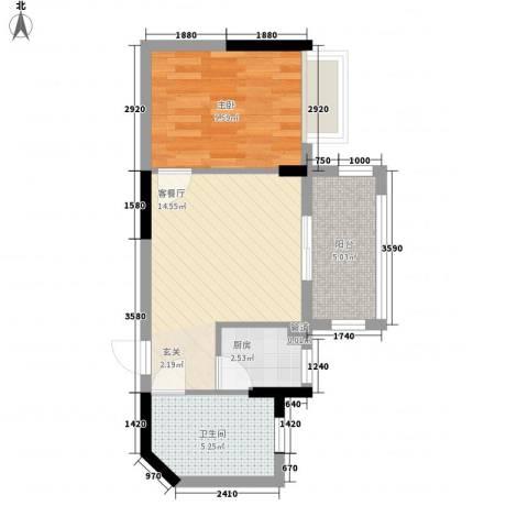 雍景香江1室1厅1卫1厨50.00㎡户型图