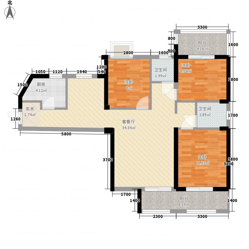 纽宾凯汉city国际社区3室1厅2卫1厨80.90㎡户型图