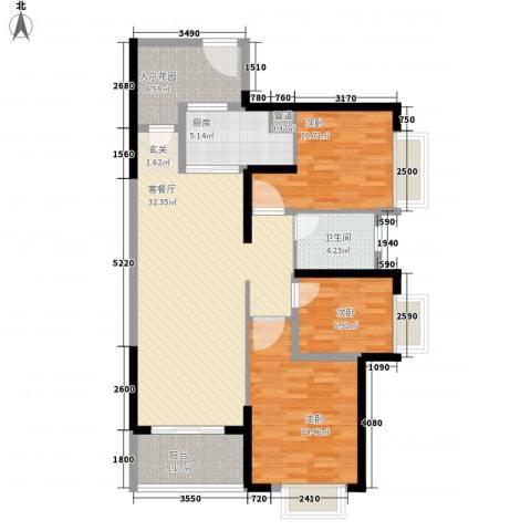 海伦堡爱ME城市3室1厅1卫1厨123.00㎡户型图