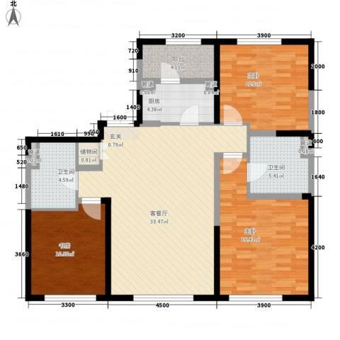 中粮大道3室1厅2卫1厨145.00㎡户型图