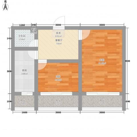 五星小区2室1厅1卫1厨53.00㎡户型图