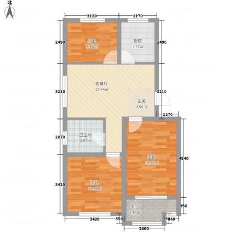 紫金园翡翠花园3室1厅1卫1厨85.00㎡户型图