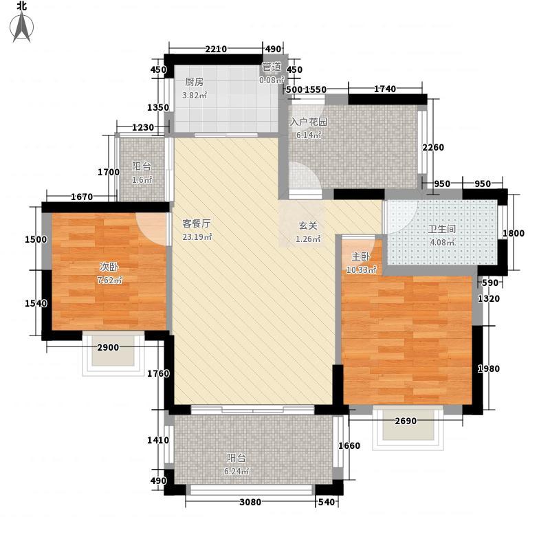半岛1号五期2室1厅1卫1厨82.00㎡户型图